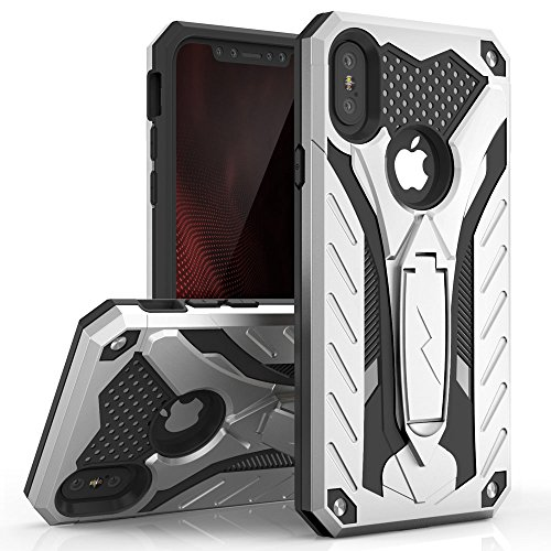Zizo Static Series Compatible with iPhone X case with Kickstand Military Grade Drop Tested Impact Resistant Heavy Duty Case iPhone Xs Silver Black