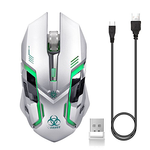 VEGCOO C9s (Updated Version) Wireless Gaming Mouse, Rechargeable Silent Click Mice with Nano Receiver, Changing Breathing Backlit, 3 Adjustable DPI Up to 2400 for Laptop, PC, MacBook (C9s Sliver)