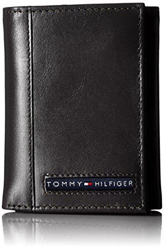 Tommy Hilfiger Men's Trifold Wallet-Sleek and Slim Includes ID Window and Credit Card Holder, Black, One Size - Wallet Three Fold Mens