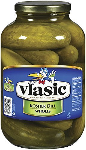 - Vlasic Whole Pickles, Kosher Dill, 128 Ounce (Pack of 4)
