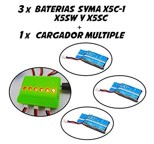 3 x Baterías de repuesto 600mah (de Alta capacidad) + Cargador múltiple para el drone Syma X5C y X5C-1