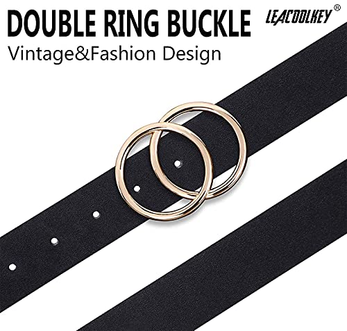 Plus Size Double O Ring Belt for Women Leather Belt,Ladies PU Leather Waist Belts for Jeans Pants