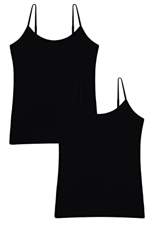 a4fd6d5bf6d38 Vislivin Women s Basic Solid Camisole Adjustable Spaghetti Strap Tank Top  Black Black S