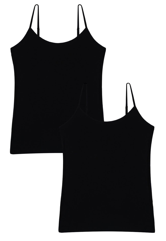 Vislivin Women's Basic Solid Camisole Adjustable Spaghetti Strap Tank Top Black/Black S