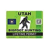 fagraphix Utah Bigfoot Hunting Permit Sticker Die Cut Decal Sasquatch Lifetime FA Vinyl - 4.00 Wide