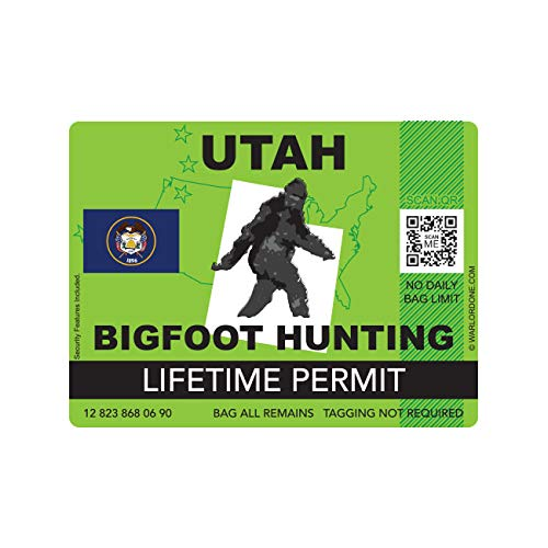 fagraphix Utah Bigfoot Hunting Permit Sticker Die Cut Decal Sasquatch Lifetime FA Vinyl - 4.00 Wide