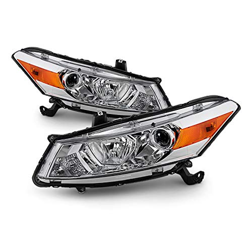 2009 Honda Accord Coupe - Fits 2008-2012 Honda Accord 2Door Coupe Chrome Halogen Type Headlamps Driver+Passenger Headlights Pair