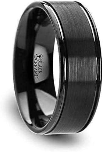 Thorsten Jewelry Titanium Wedding Ring Flat Black Brushed Finish 8mm Band