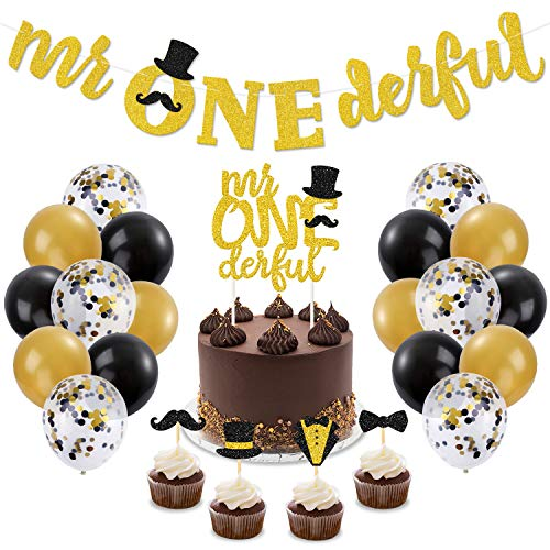 Mr Onederful 1st Birthday Decorations Kit Mr Wonderful Dapper Themed Cake Topper Banner Black & Gold Confetti Balloons for Little Man Baby Shower Bow Tie Cake Smash New Years Baby Boy First Birthday Party Supplies