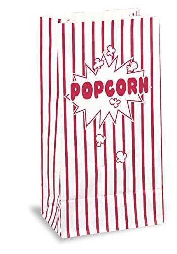 Red & White Striped Paper Popcorn Bags, 10ct ()