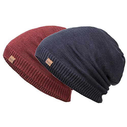 REDESS Slouchy Long Oversized Beanie Hat for Women and Men, Variy Styles and Colors Fleece Lined Winter Warm Knit Cap (Sequins Navy)