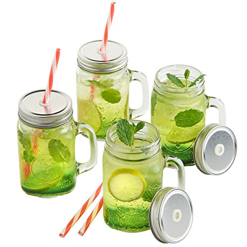 Price comparison product image VonShef Set of 4 Mason Glass Drinking Jars Set 15 Ounce Glasses with Reusable Straws,  Twist Lids and Handles