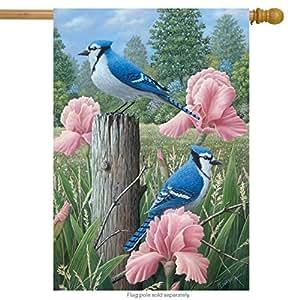"Blue Jays Spring House Flag Welcome Floral 28"" x 40"" Briarwood Lane"