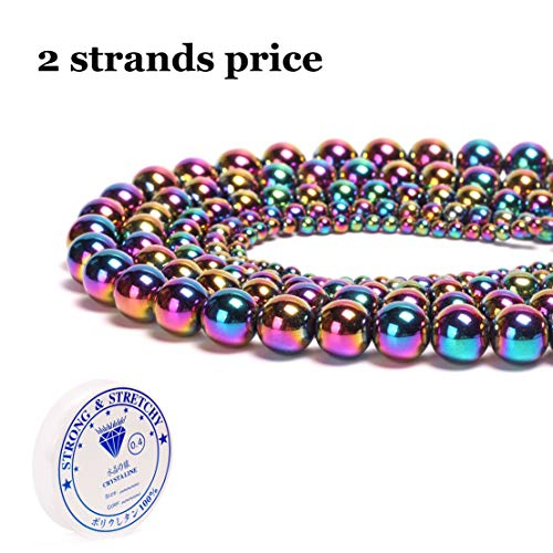 Hematite Natural Stone Round Loose Beads Semi Gemstone Healing Power Energy Stone for Jewelry Making DIY Necklace Bracelet Making Strand 15.5