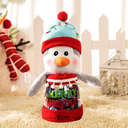 (RUJFISH Christmas Storage Bin Candy Jar Cookie and Gift Container Bottle Jar Snowman Santa Clause Design for Cookie Treats and Chocolate Decorative)