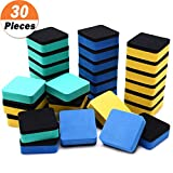 30 Pack Magnetic Whiteboard Eraser for School Classroom, Office, Home - Chougui Dry Erase Erasers Cleaner for Dry-erase White Board, 1.97 x 1.97', Square Shape (Yellow, Blue, Green)