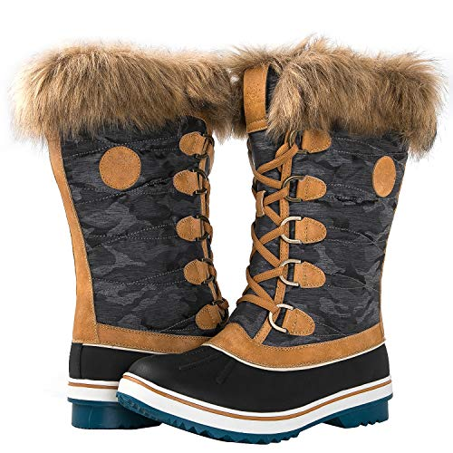 GLOBALWIN Women's 1837 Camel Winter Snow Boots - Fur Winter Boots Womans