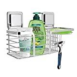 Bathroom Wall Shelf,Organizer Storage Kitchen Rack,Shower Organizer,Storage Basket Wall Mounted Corner Shelf,Shower Caddy Bathroom Storage Basket Wall Mounted,Super Self Adhesive,Stainless Steel
