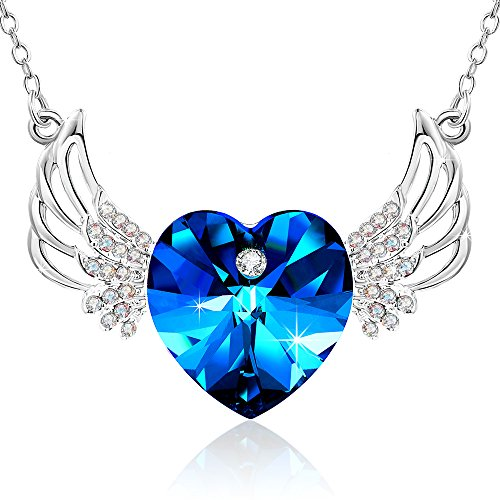 Special Outlook Love Heart Wings Crystals from Swarovski Pendant Necklace gifts Jewelry for Women Daughter Wife Mom Wedding Anniversary