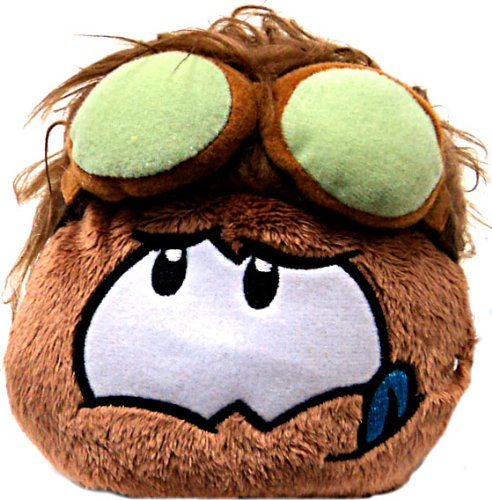 Disney Club Penguin 4 Inch Series 11 Online Exclusive Plush Puffle Brown with Goggles Includes Coin with (Puffle Series)