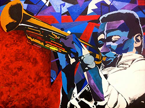 Vakseen Art - Miles to the Sun - Miles Davis portrait Art - Limited Edition Giclee Print & Framed Pop Art for Wall Decor