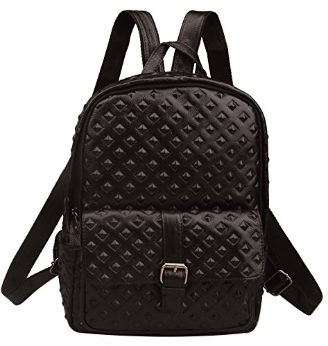 Fiswiss Women's Genuine Leather Backpack For Travel Handbags Purses (Black) by Fiswiss