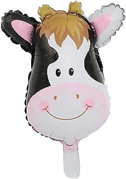1 Pc Globo Dibujo Animado Animales Cabeza Lindo para Niños para Caja de Regalo Paquete de Festivales - Vaca: Amazon.es: Juguetes y juegos