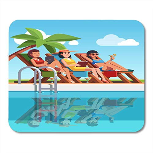 HZMJPAD Three Woman in Swimsuits Lying on Loungers Near Swimming Pool Beautiful Girls Tanning at Poolside UnderSupplies Mouse Pad 8.6 X 7.1 in ()