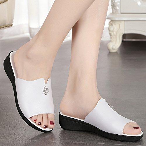 KPHY Pretty/Zapatos de mujer/Verano Zapatillas Zapatillas Sandalias Zapatos De Mujer Fondo Plano Moda Cool Zapatillas.Treinta Y Ocho Blanco Thirty-eight|white