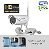 TriVision Outdoor Security Camera Wireless HD 1080P IP Network Camera with Infrared Night Vision, Built-in DVR, Aluminum Bullet Weatherproof Housing