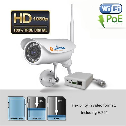 TriVision NC-336PW HD 1080P IP Security Camera Outdoor Wireless N & POE Combo with Facial Recognition in 18 to 45 Feet and Install in 3 Steps with Our Free Dedicated Apps on iPhone, Android Smartphone and More