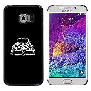Samsung Galaxy S6 EDGE (NOT S6) , JackGot - Impreso colorido protector duro espalda Funda piel de Shell (Retro coche del músculo del vintage Cráneo Negro)