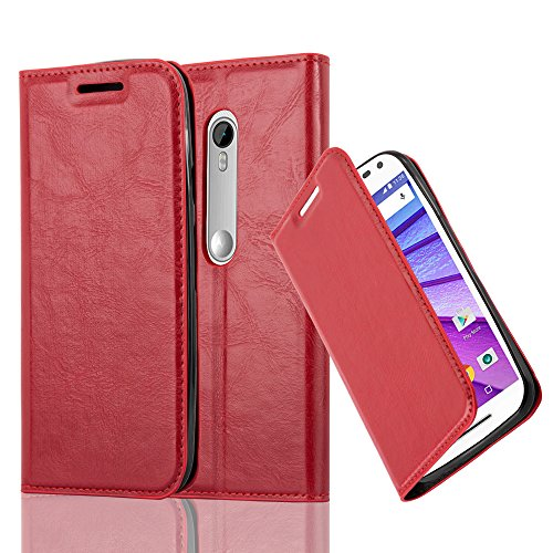 Cadorabo Case works with Lenovo (Motorola) MOTO G3 Book Case in APPLE RED (Design INVISIBLE CLOSURE) – with Magnetic Closure, Stand Function and Card Slot – Wallet Case Etui Cover PU Leather by Cadorabo