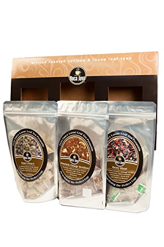 Boca Java Roast to Order Coffee, Herbal Tea Gift Set 3-Pack by BOCA JAVA