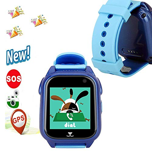 HelloPet S8 GPS Tracker Watch for Children Global Positioning Waterproof IP67 smartwatches Phone with GPS Locator/lbs sos Camera Voice Android iOS Chatting Flashlight Games for Kids (Blue)