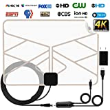 TV Antenna, Indoor HDTV Antenna Long 60-100 Miles Range Digital Amplified HD Antenna with Amplifier Signal Booster for 1080P 4K Free TV Channels, Amplified 18ft Coax Cable,2019 Newest