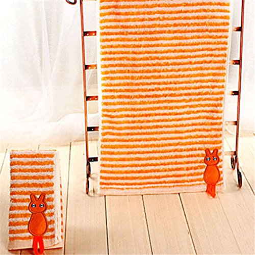 MONOMONO-3 Color Stripe Embroidery Cat Absorbent Cotton Cleansing Face Hand Towel 50x27cm (orange)