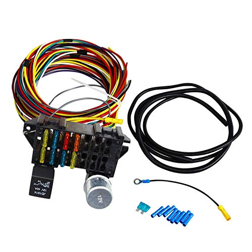 BETTERCLOUD 8 Circuit Fuse 12V Wiring Harness w/Small Fuse Block fit for Muscle Car Hot Rod Street Rod Rat Rod Universal ()