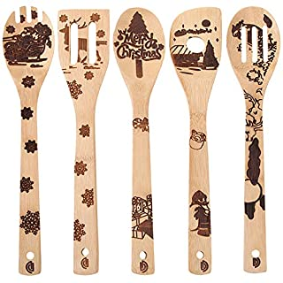 Christmas Decorations Gift Idea Utensil Burned Wooden Spoons Set Housewarming Wedding New Year Present Christmas Tree Ornaments 5 Piece