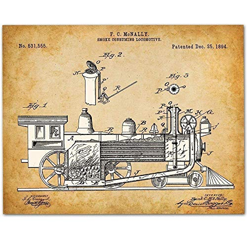 Locomotive Engine - 11x14 Unframed Patent Print - Makes a Great Gift Under $15 for Rail Fans
