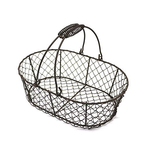 CVHOMEDECO. Oval Metal Wire Egg Basket Wire Fruit Basket with Handle Primitives Vintage Style Storage Basket. Rusty, 11 X 7-1/4 X 3-1/2 Inch (Primitive Egg Basket)