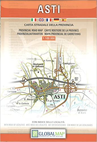 Provincial Map Of Italy.Asti Piedmont Italy Provincial Road Map English Spanish
