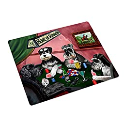 Home of 4 Schnauzers Dogs Playing Poker Large Stickers Sheet of 12