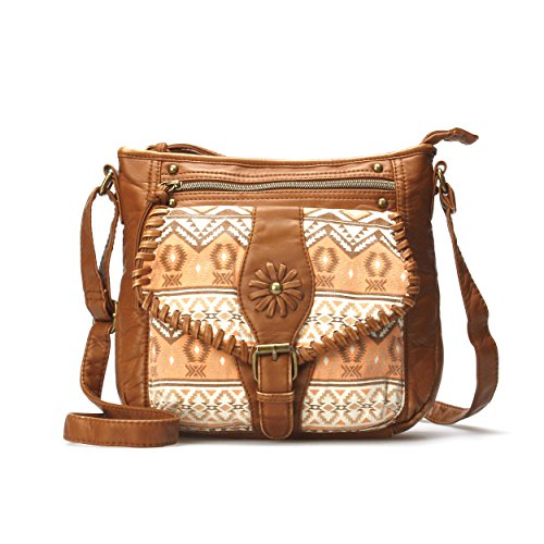 Wallflower Southwestern Style Faux Leather Crossbody Purse - Unique Native American/Aztec Print Purse Designed on Multi-Pocket Crossbody Bag with Flapover, Front Zipper, and Whip Stitch - Walnut