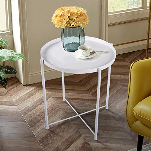 Round Side Table - 20'' Small Reversible Metal Tray End Table, Modern Steel Patio/Garden/Sofa/Coffee/Snack/Bed/Nesting Tables Nightstand for Living Room Bedroom Decor Indoor Outdoor-White (Nightstand Round White)
