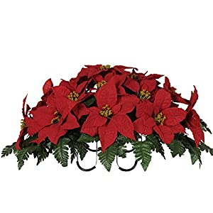 Sympathy Silks Artificial Cemetery Flowers Saddle-Arrangement - Red Poinsettia Silk Fake Flowers Outdoor Grave-Decorations - Non-Bleed Colors Easy to Fit 39