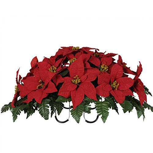Red Poinsettia Artificial Saddle Arrangement (SD8011)