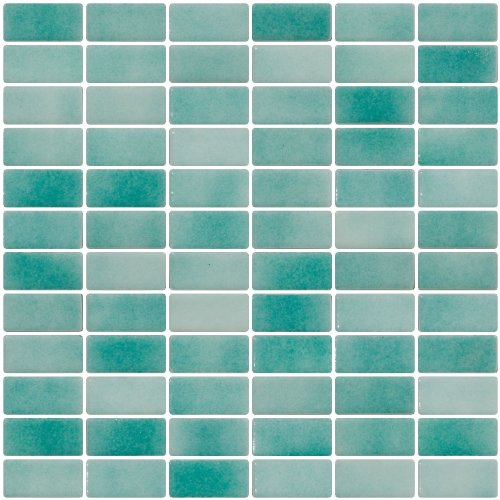 Susan Jablon Mosaics - 1x2 Inch Sea Foam Blue Dapple on White Recycled Subway Glass Tile - Sea Foam Tile