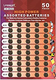 LOOPACELL High Power Alkaline Button Cell 1.5V Batteries, Assorted, 50 Pieces