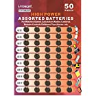 Loopacell 7A-QBSM-TPSW High Power Super Alkaline Button Cell Assorted 1.5V Battery AG3/LR41 AG4/LR626 AG5/LR754 AG10/LR1130 AG13/LR44 Pack of 50